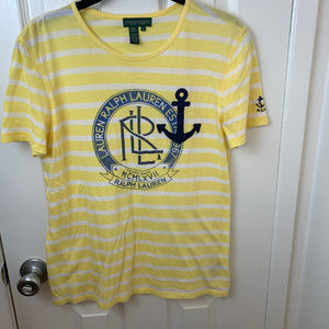 Ralph Lauren Yellow & White Stripe Nautical Tee. M